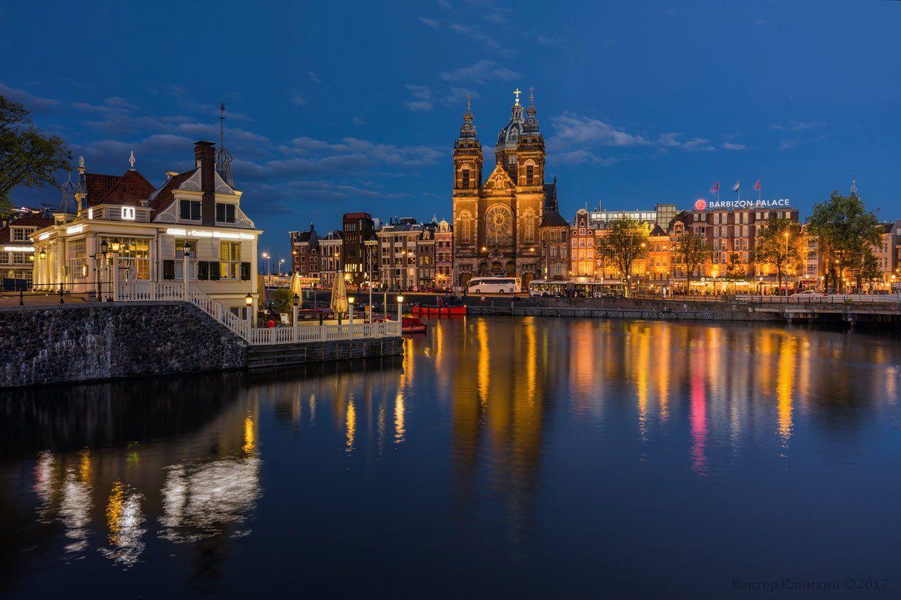 амстердам, amsterdam, sint-nicolaaskerk, вечер, голландия, niderland, Виктор Климкин