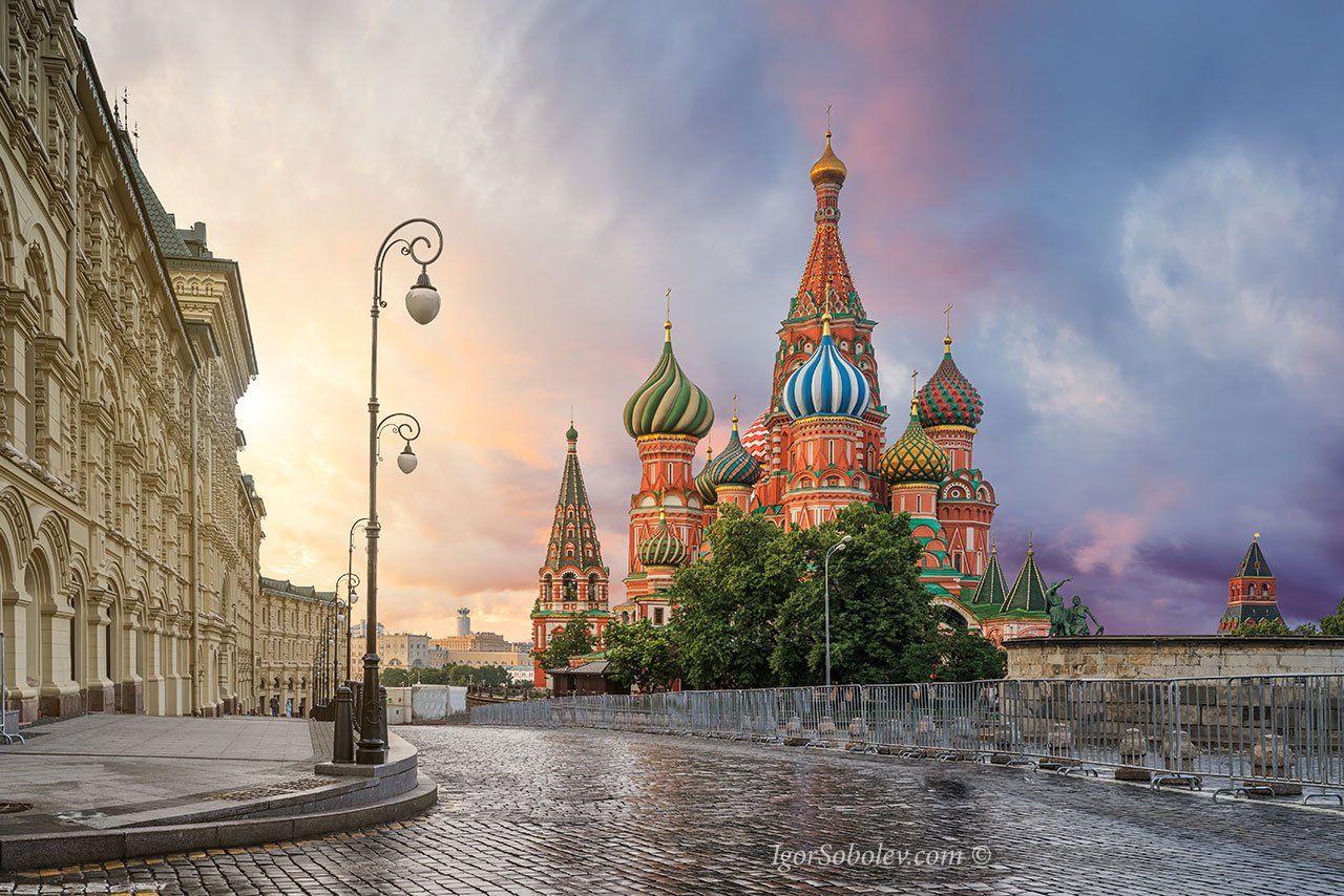 собор василия блаженного, москва,кремль, красная площадь, утро. покровский собор, Соболев Игорь