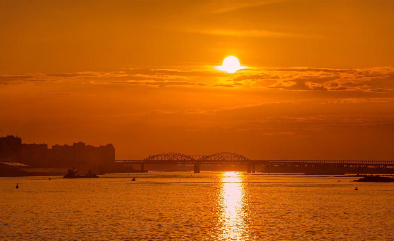пейзаж, мост, закат, вечер, река, волга, солнце, облака, Альберт Беляев
