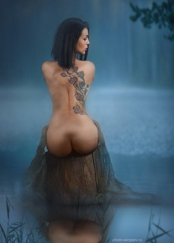 девушка,туман,озеро,утро,спина,татуировка,обнажённая,пленэр, Сергеев Александр