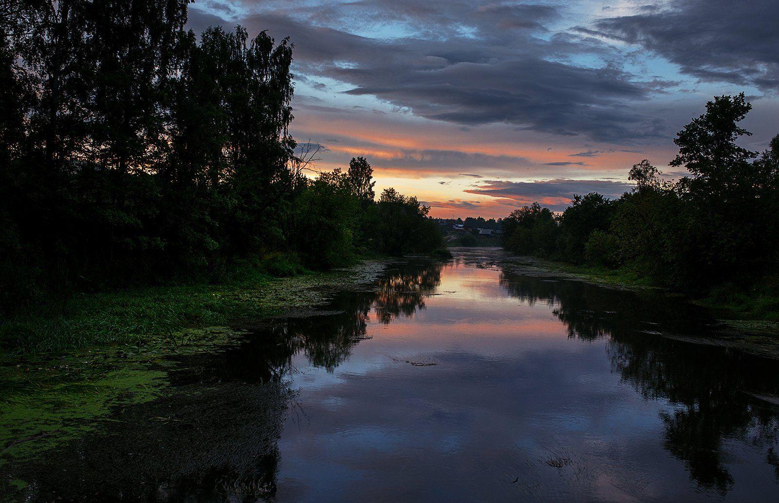 вечер, закат, лето, река, деревня, южный урал, Евгений Толкачёв
