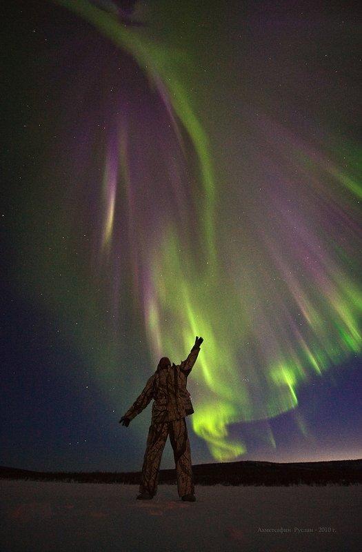 северное, сияние, ночь, якутия, север, человек, космос, Ахметсафин Руслан