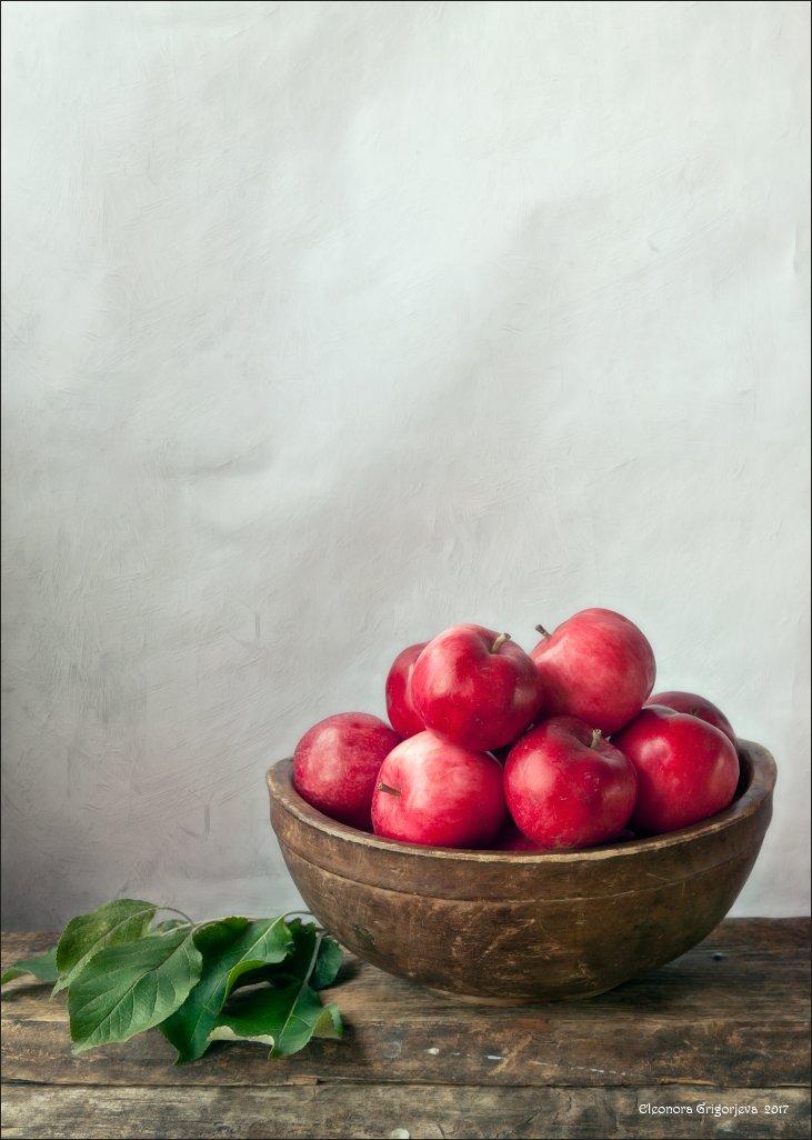 яблоки, деревянный, миска, винтаж, листья, натюрморт, Eleonora Grigorjeva