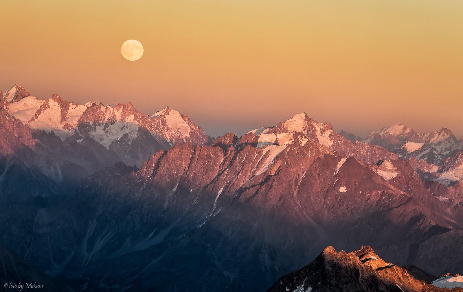 landscape, travel, mountain, moon, kavkaz, эльбрус, кавказ, горы, пейзаж, путешествия, Алексей Самойленко