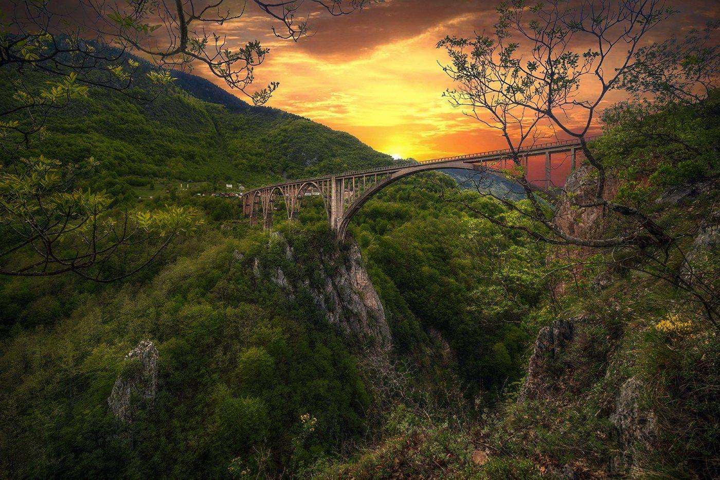 Черногория, река Тара, мост Джурджевича, арочный мост, каньон, Montenegro, GaL-Lina