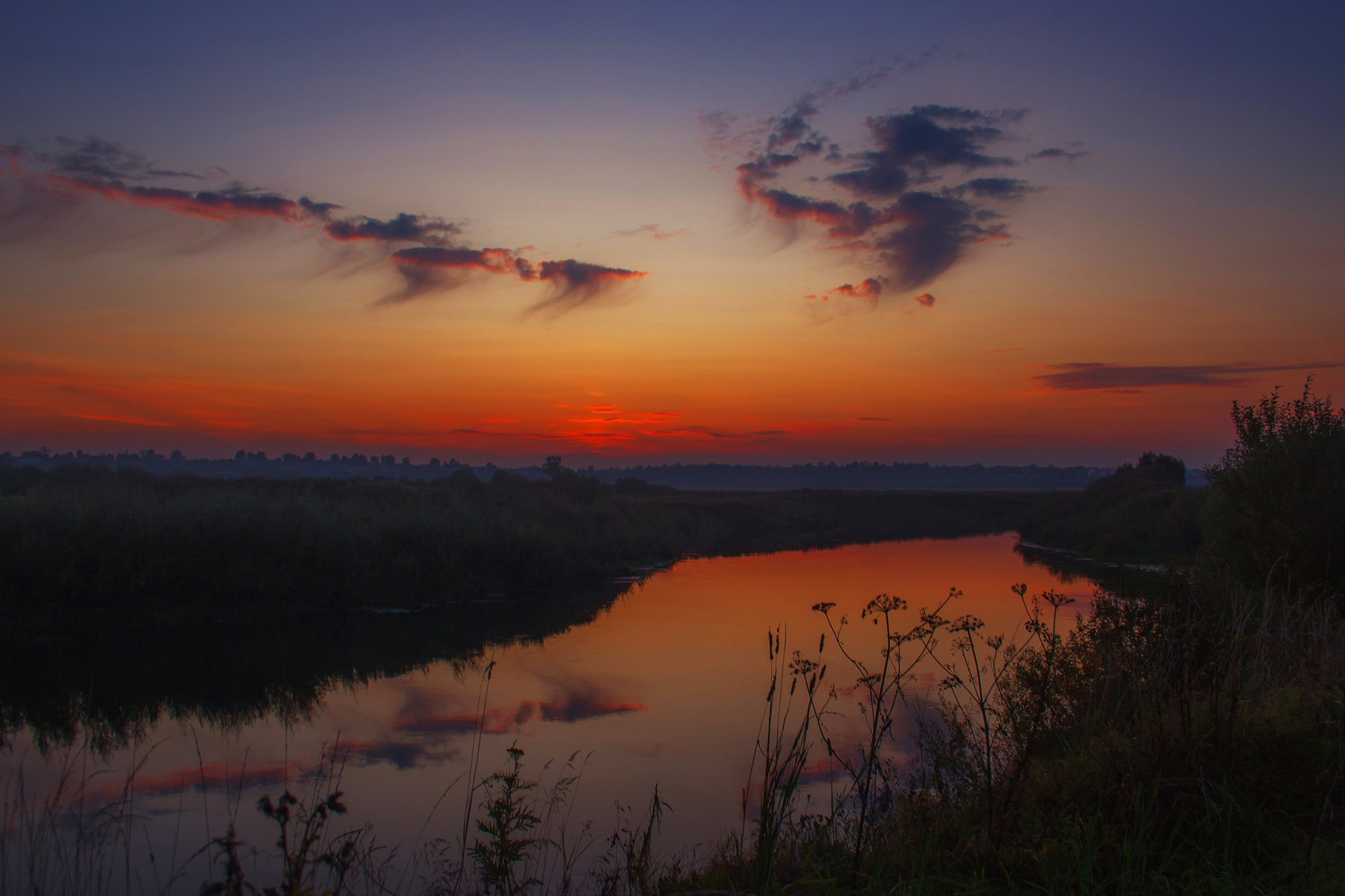 природа, закат, река, осень, поле, лес, Екатерина