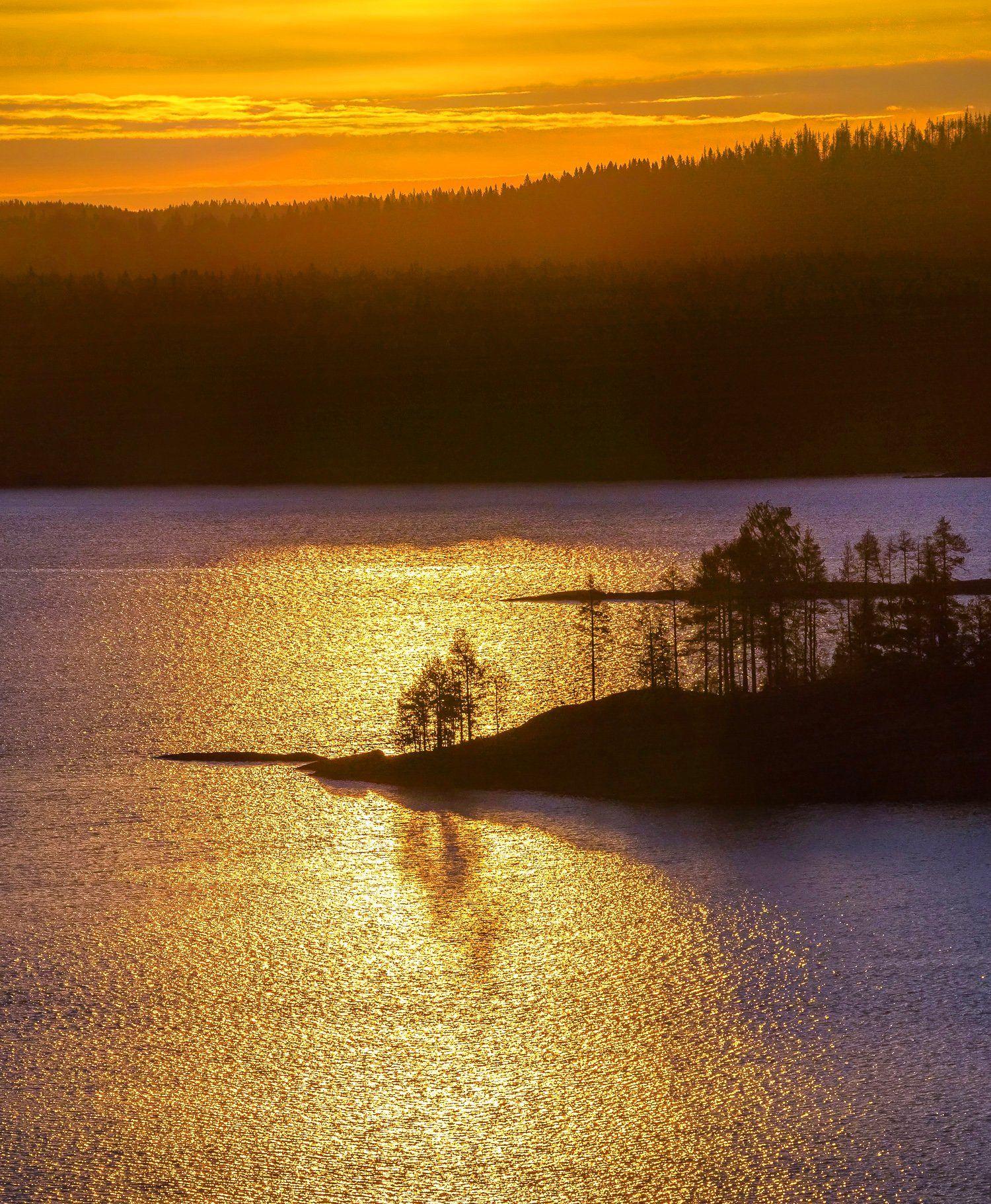 ладожское озеро, карелия, шхеры, лето, солнце, скалы, вода, рассвет, деревья, отражение, сосны., Лашков Фёдор