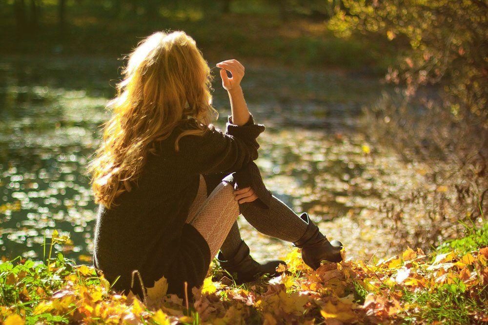 девушка, портрет, пруд, осень, Екатерина Муганлинская