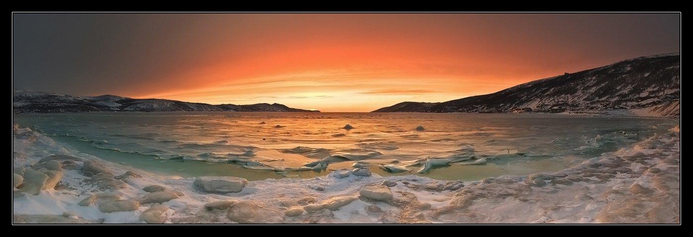 магадан, бухта нагаева, море,снег,лед, закат, Scar Blaze