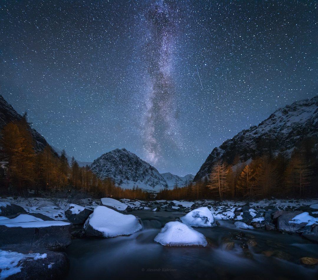 пейзаж, звёзды, алтай, актру, Александр Кукринов