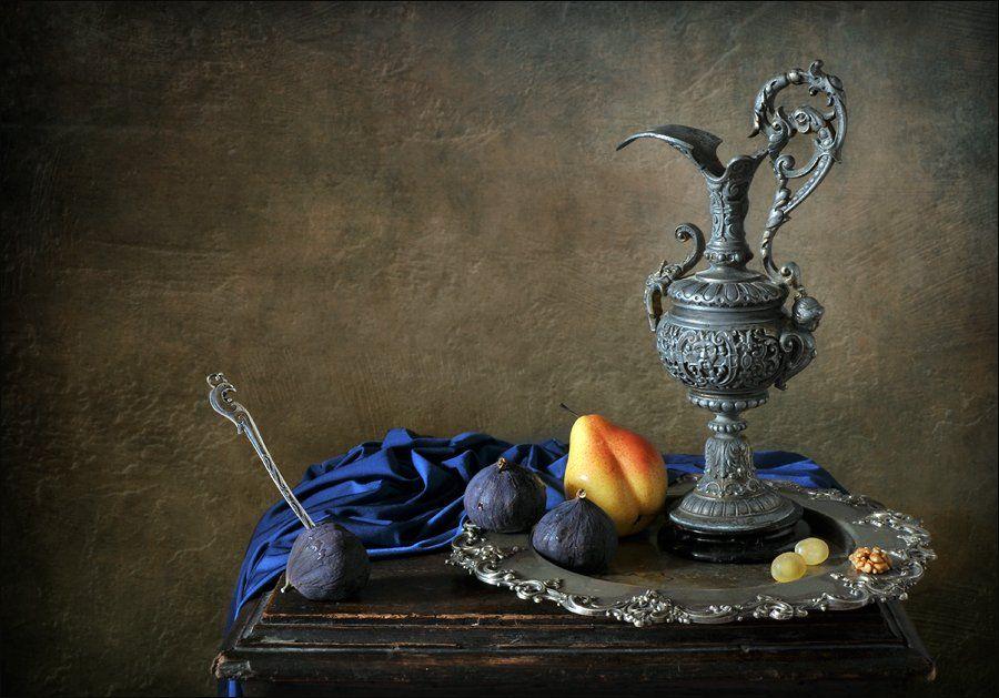 натюрморт, кувшин, инжир, груша, Елена Романова