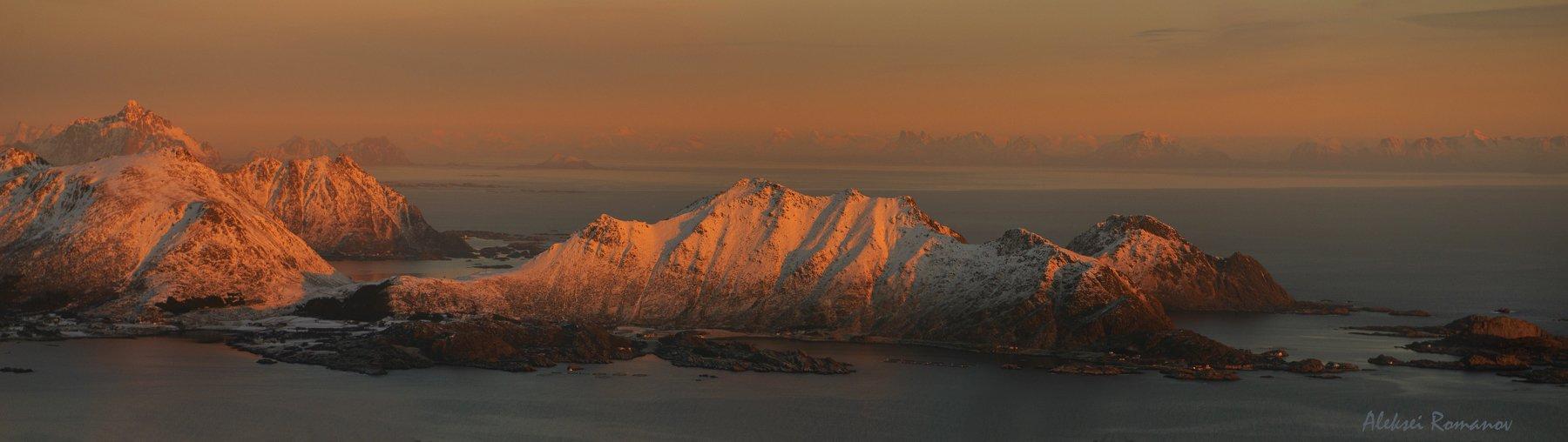 природа, путешествия, закат, горы, лофотенские острова, Алексей Романов