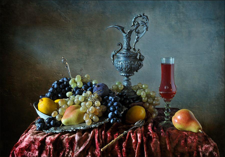 натюрморт , виноград, кувшин, вино , фрукты, Елена Романова