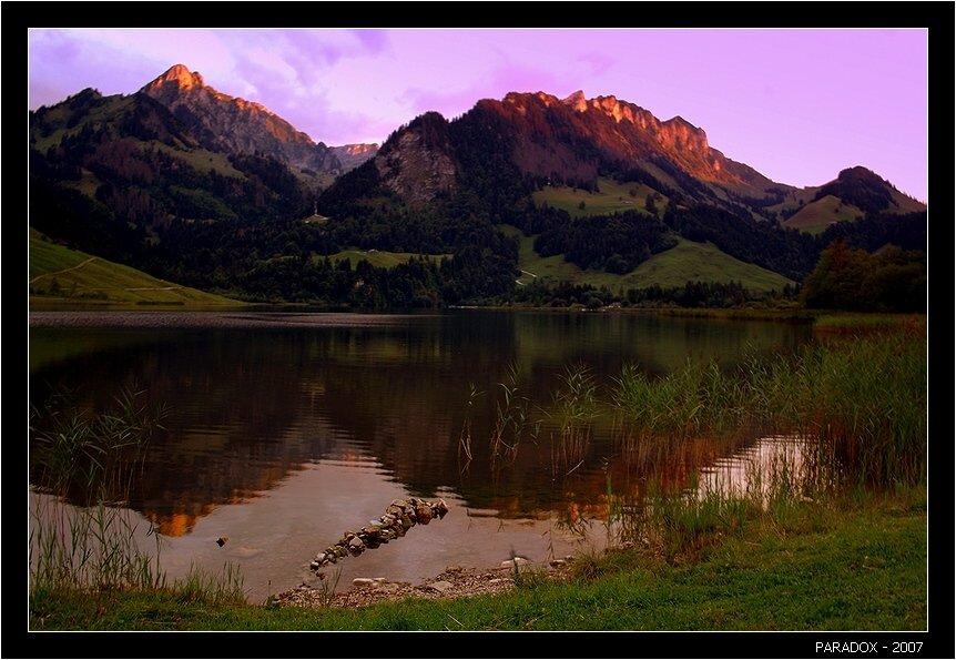 швейцария, schwarzsee, fribourg, черное озеро, закат, paradox, PARADOX