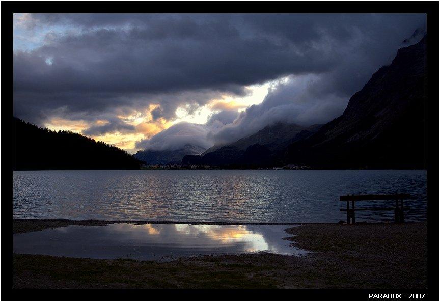 швейцария, сильваплана, silvaplana, вечер, озеро, скамейка, встречи, судьбы, paradox, PARADOX
