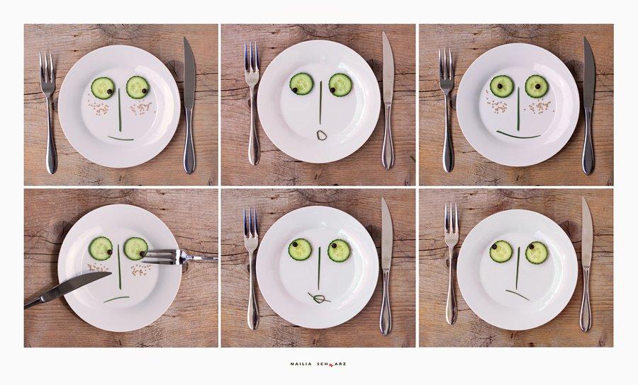 натюрморт, тарелки, огурцы, эмоции, лица, Nailia