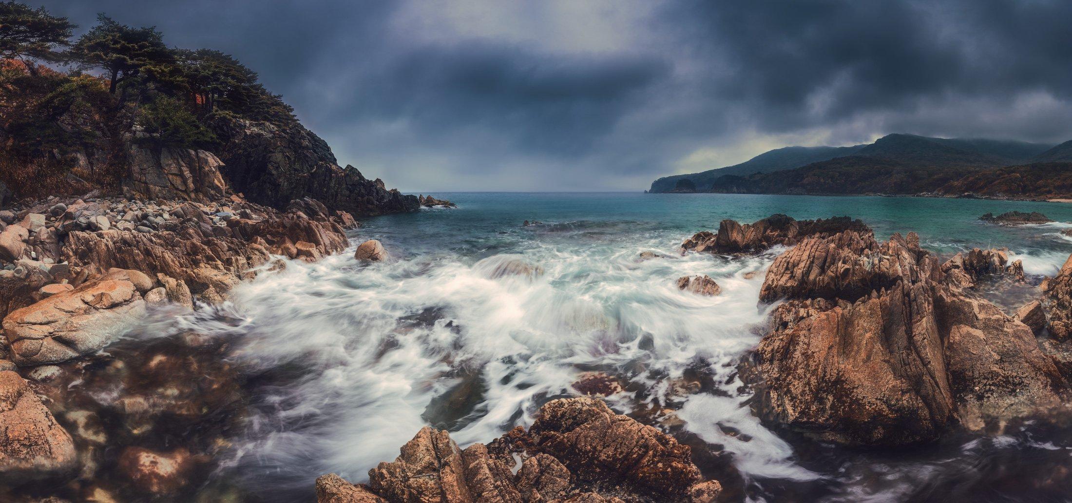 панорама, море, осень, скалы, Андрей Кровлин