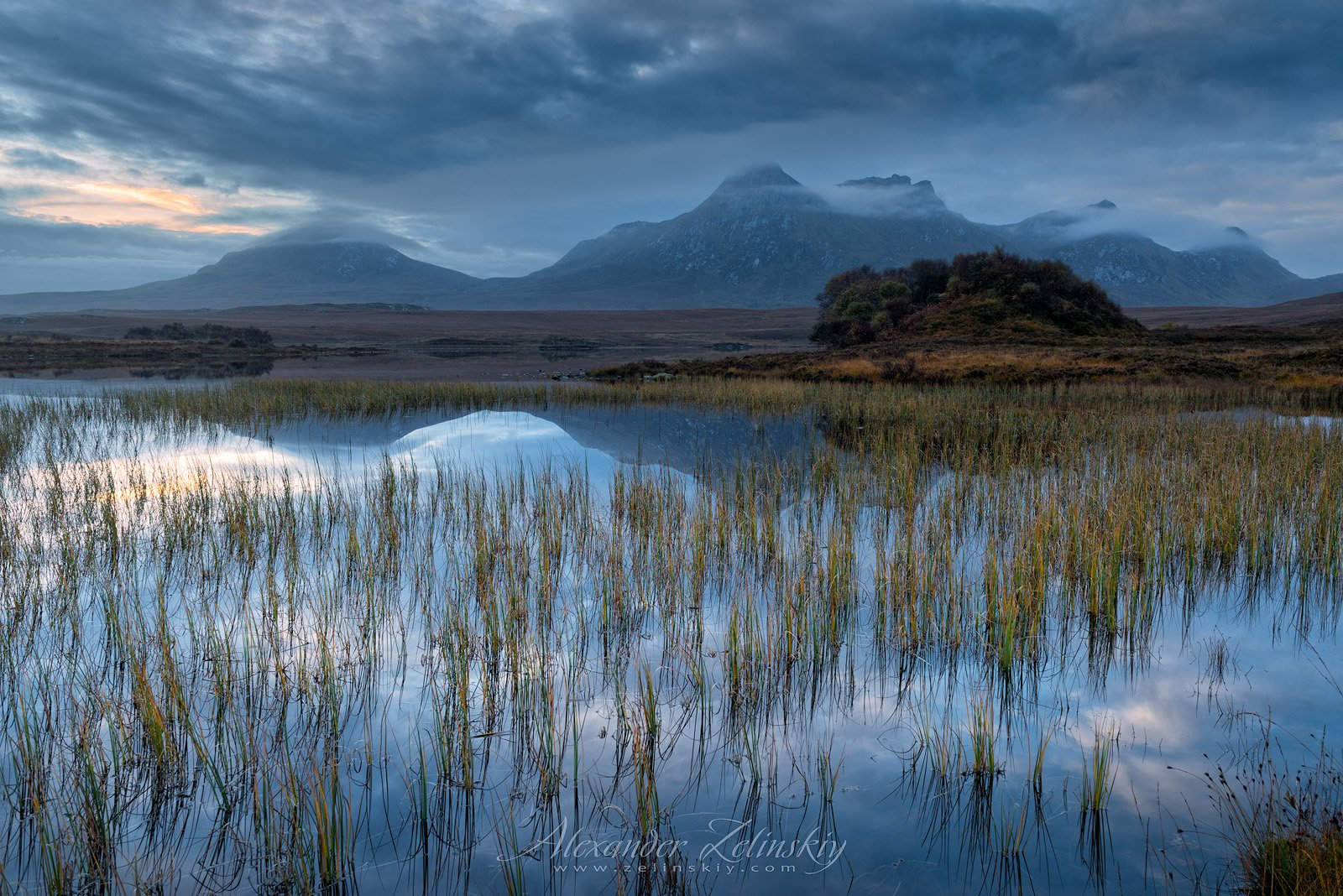 озеро, рассвет, шотландия, Alex Mimo
