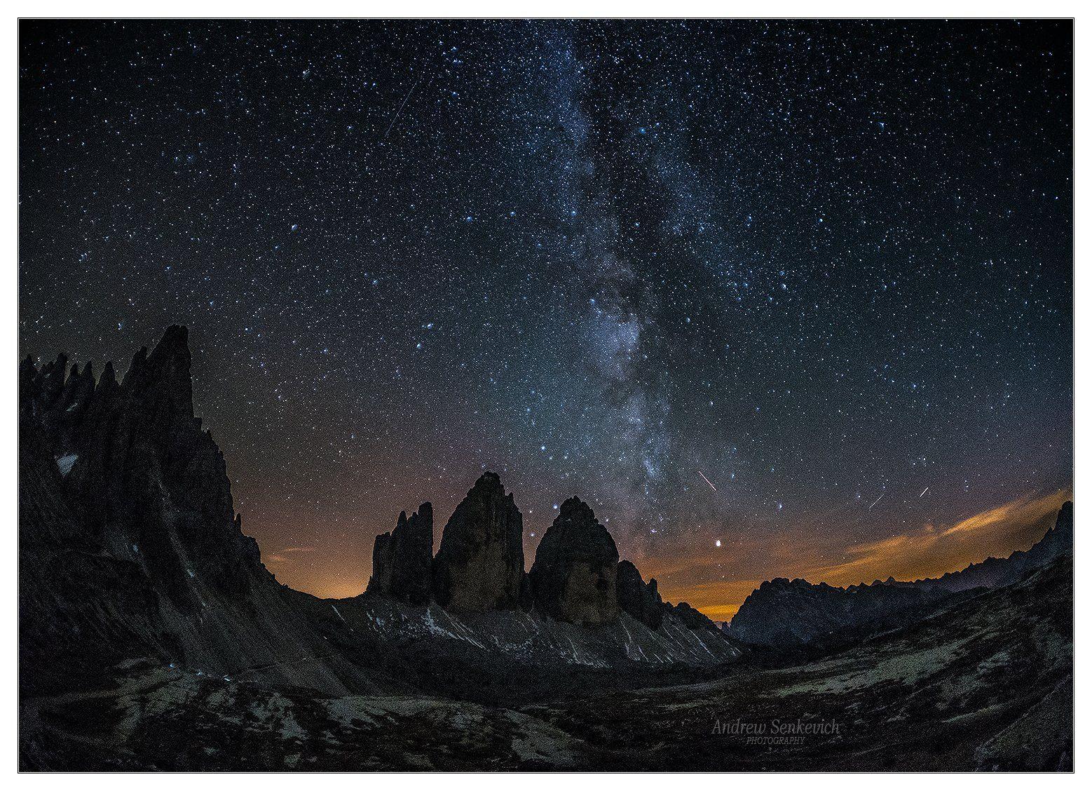 tre cime di lavaredo, dolomites, italy, горы, ночь, млечный путь, доломиты, milky way, night, stars, Andrew Senkevich