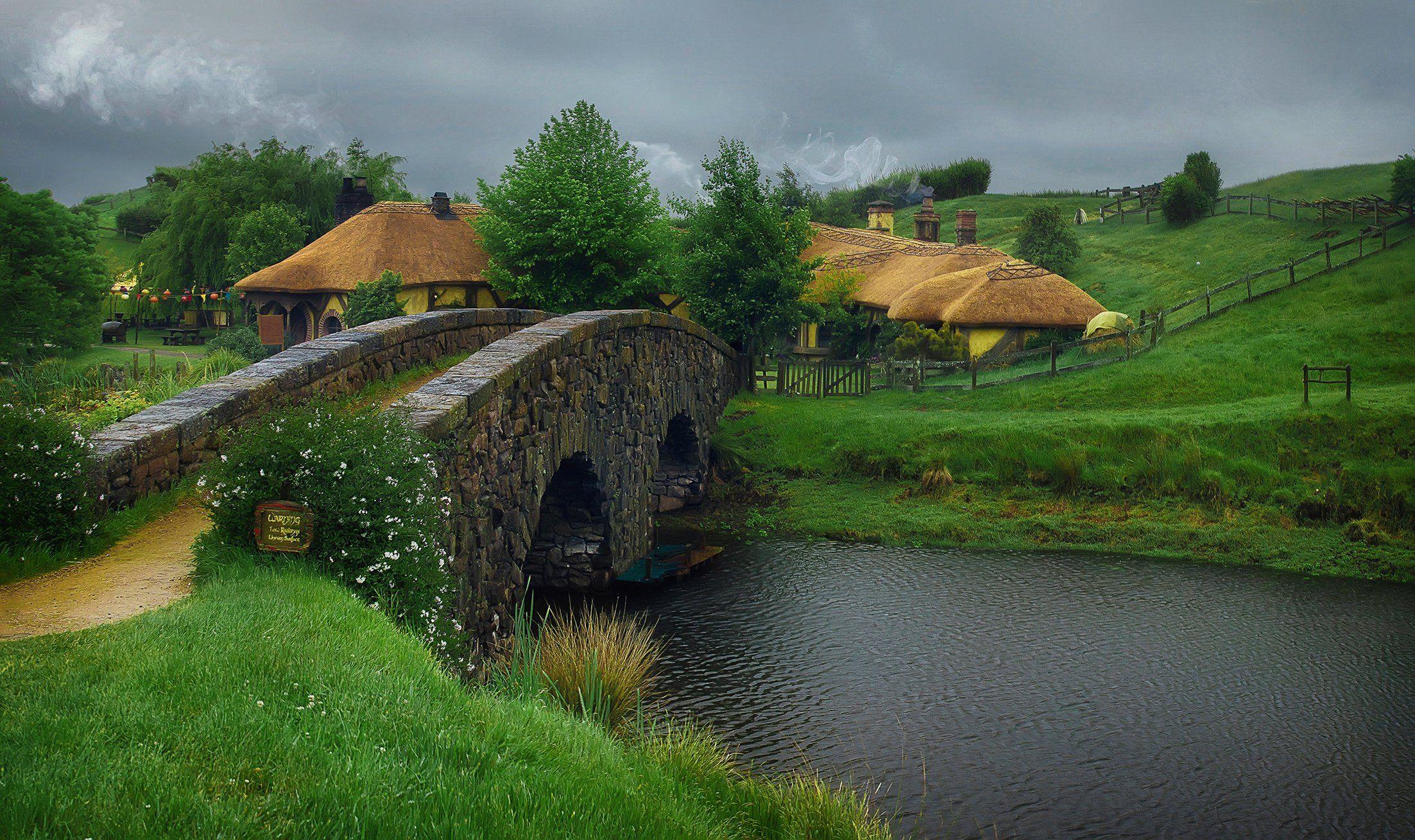 Новая Зеландия, хоббитон, деревня, мост, Алексей Ермаков