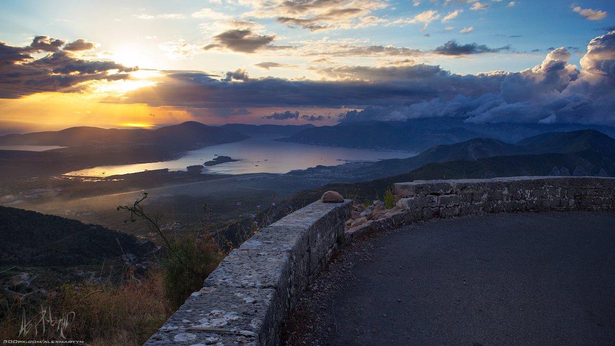 черногория, залив, закат, вечер, море, адриатика, монтенегро, пейзаж, представление, простор, свет, небо, Александр Мартынов