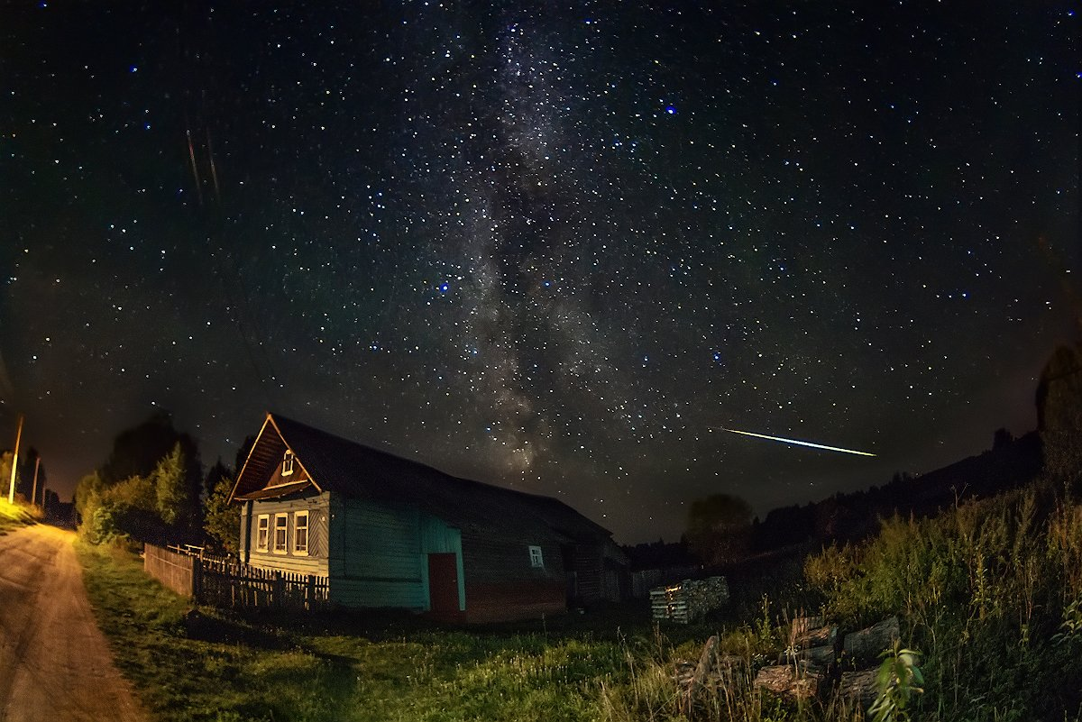 млечный, путь, звезды, деревня, персеиды, Марина Мурашова