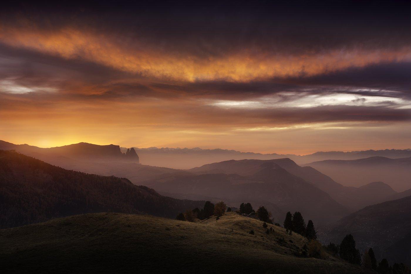 италия, закат, вечер, доломиты, горы, небо, облака, Cтанислав Малых