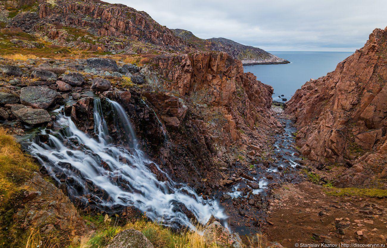териберка, пейзаж, водопад, Станислав Казнов