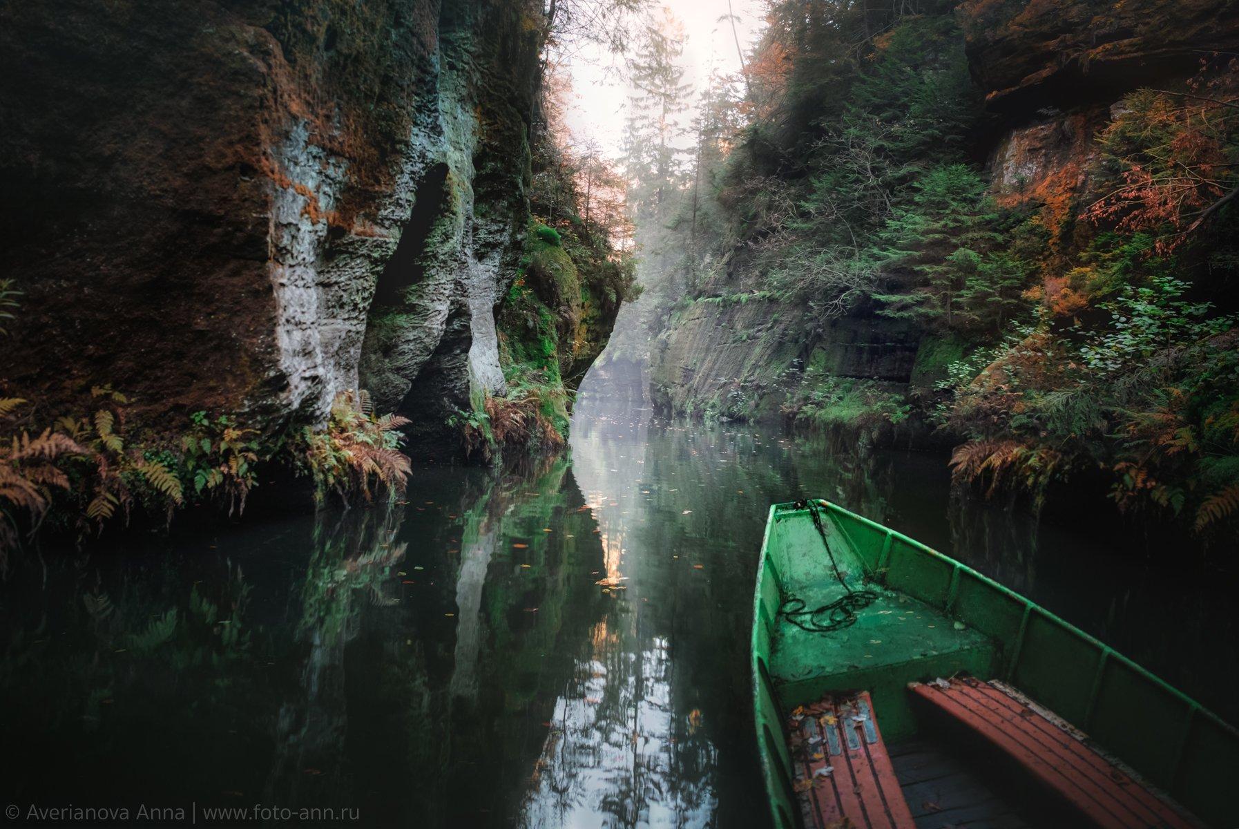 лодка, природа, скалы, Анна Аверьянова