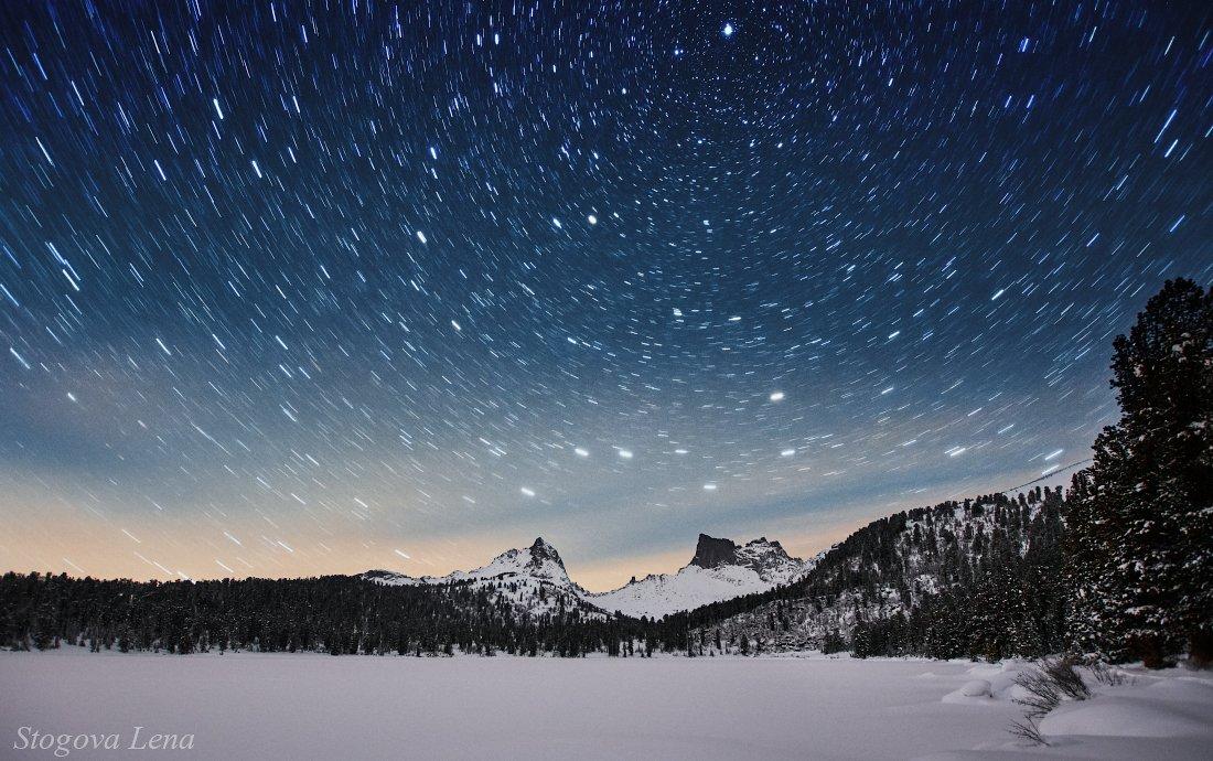 ергаки, озеро светлое, звезды, ночное небо, Лена Стогова