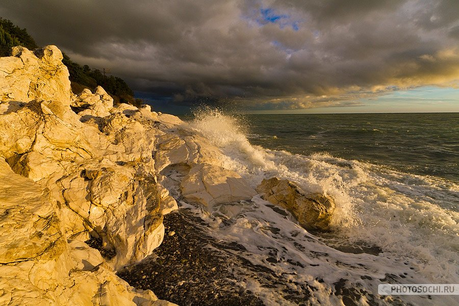море, осень, закат, прибой, Евгений Харланов