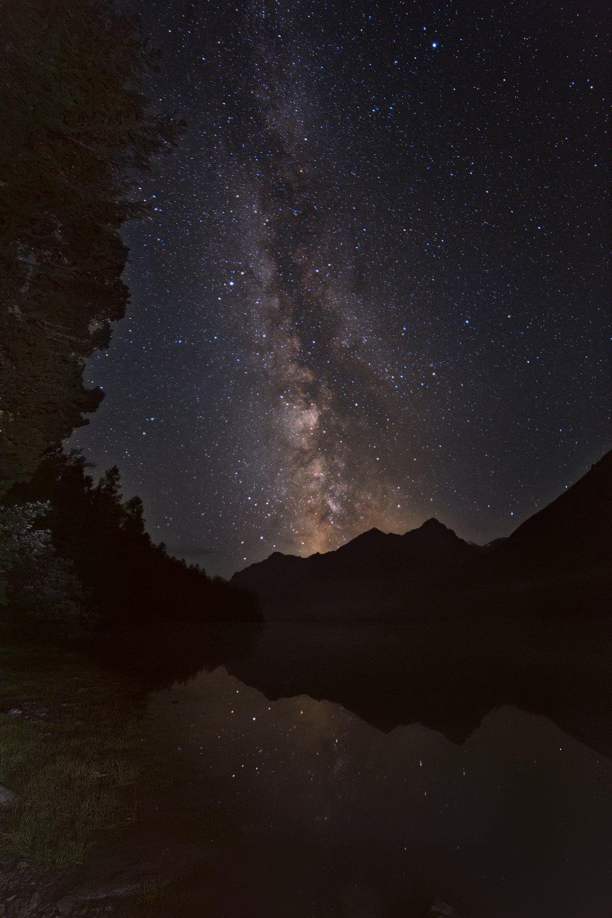 кучерлинское озеро, горный алтай, млечный путь, ночное фото, Кузнецов Сергей