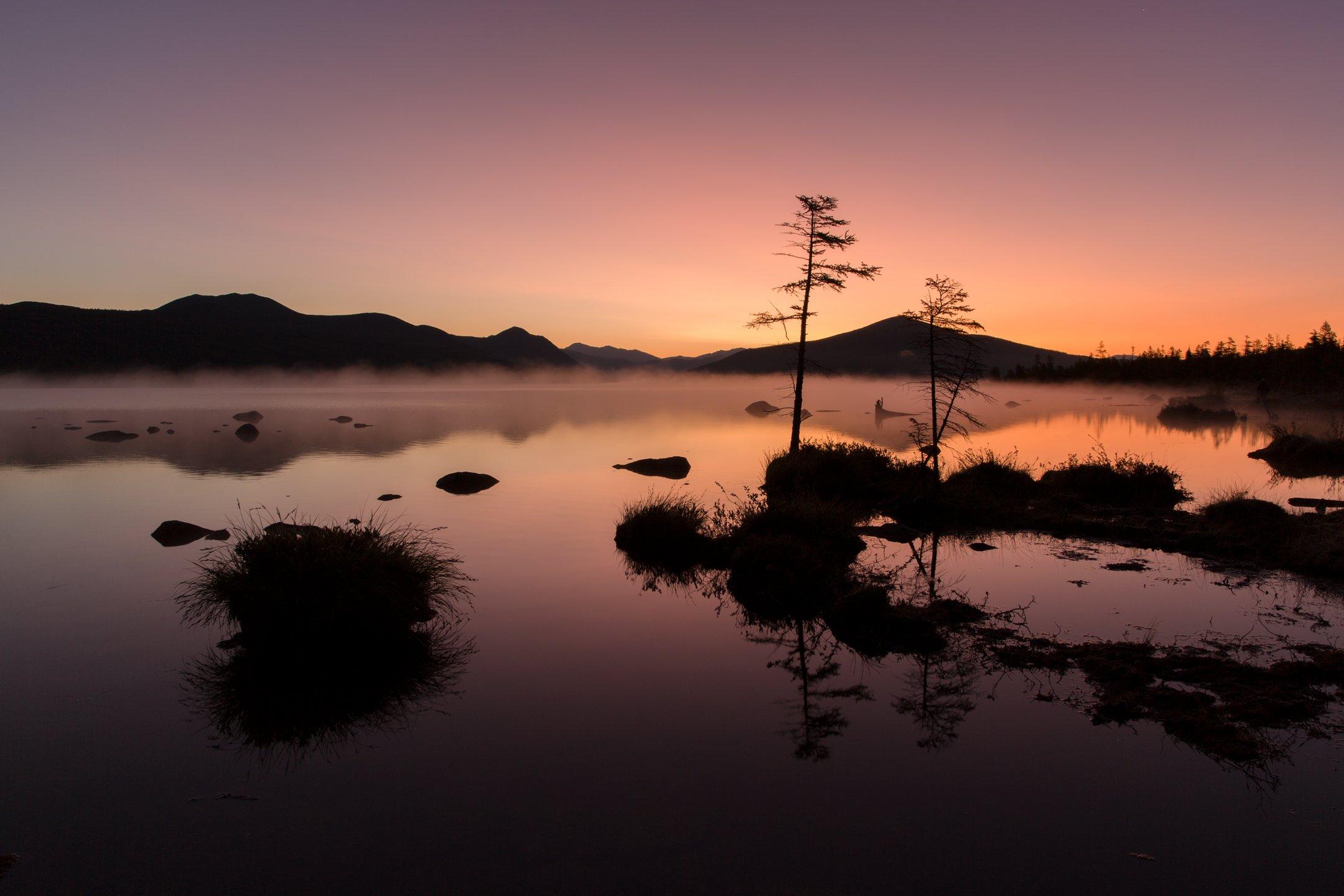 озеро, рассвет, тишина, отражение, сумерки, колыма, Антон Селезнев
