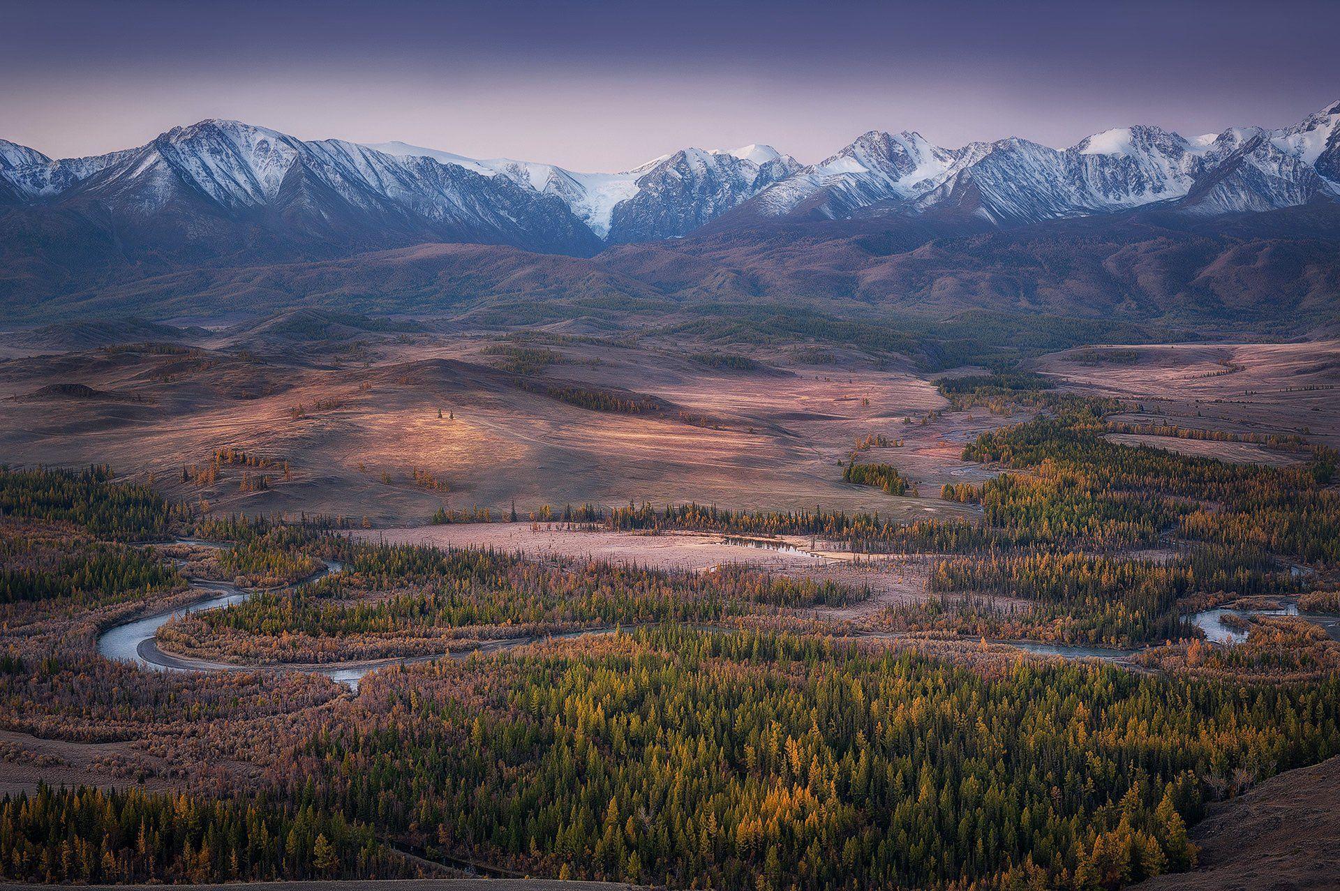 алтай, курайская степь горы рассвет река лиственница осень, Юрий Перцов