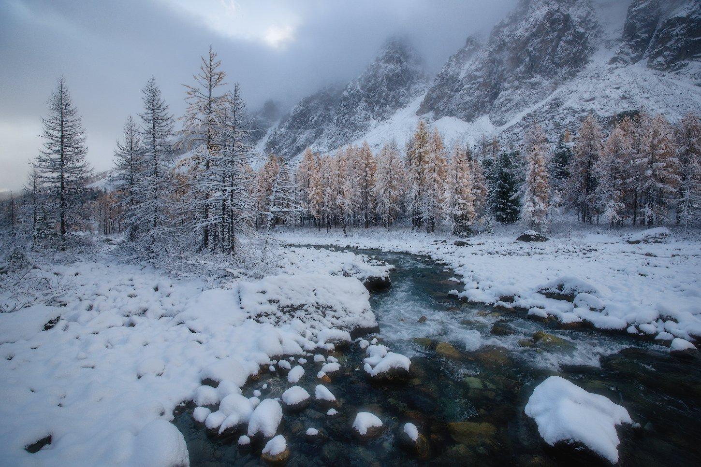 алтай, горы, осень, зима, актру, Владимир Ляпин