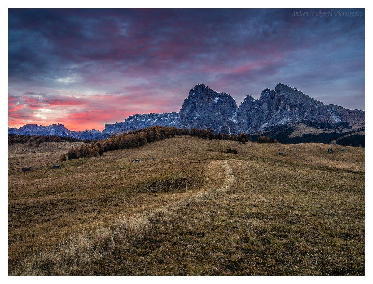 alpe di siusi, доломиты, восход, осень, Andrew Senkevich