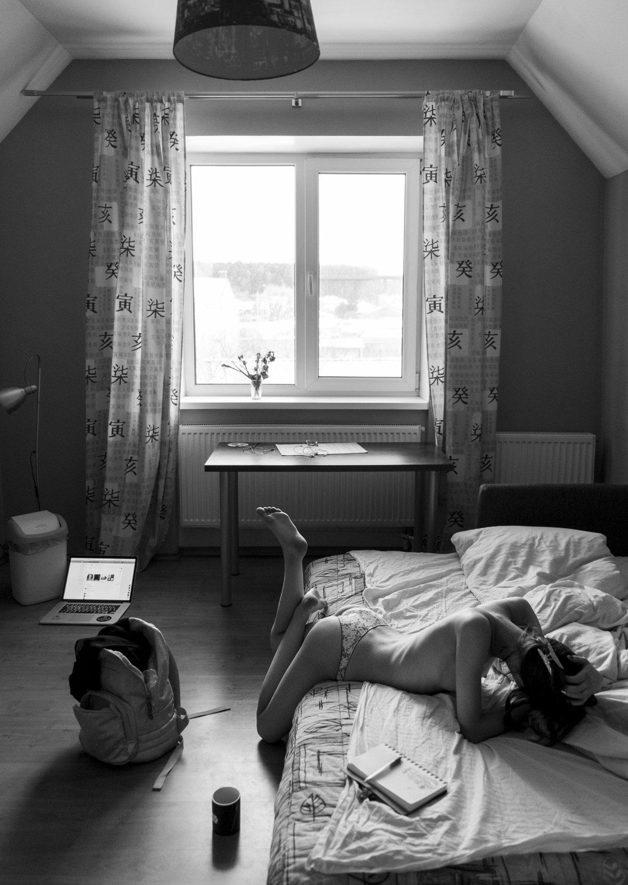 girl, nude, home, b&w, black and white, at home, moscow, village, yamontovo, fujifilmru, Роман Филиппов