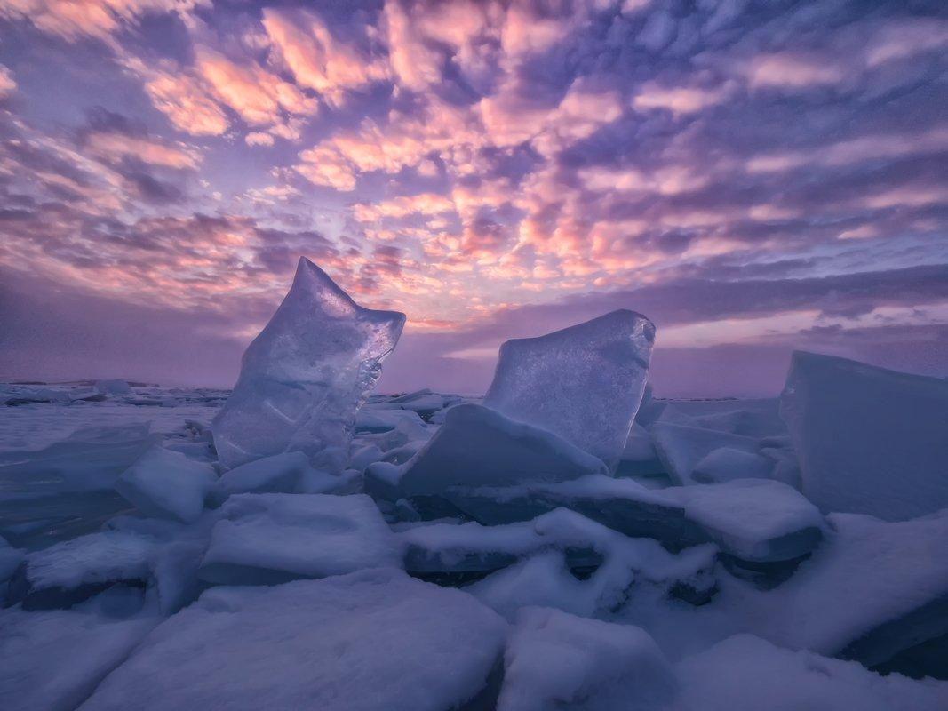 байкал,лед,закат,прозрачный лед, пейзаж, снег, алмаз, облака,вечер, путешествие,природа,экология,фотообои,розовый, небо, Elena Pakhalyuk