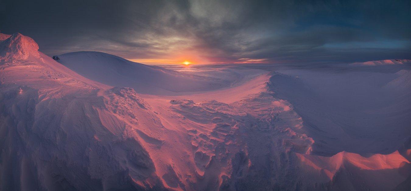 пейзаж,рассвет,россия,снег,панорама,горы,зима,кольский,чевер,свет,небо,солнце, Истомин Виталий