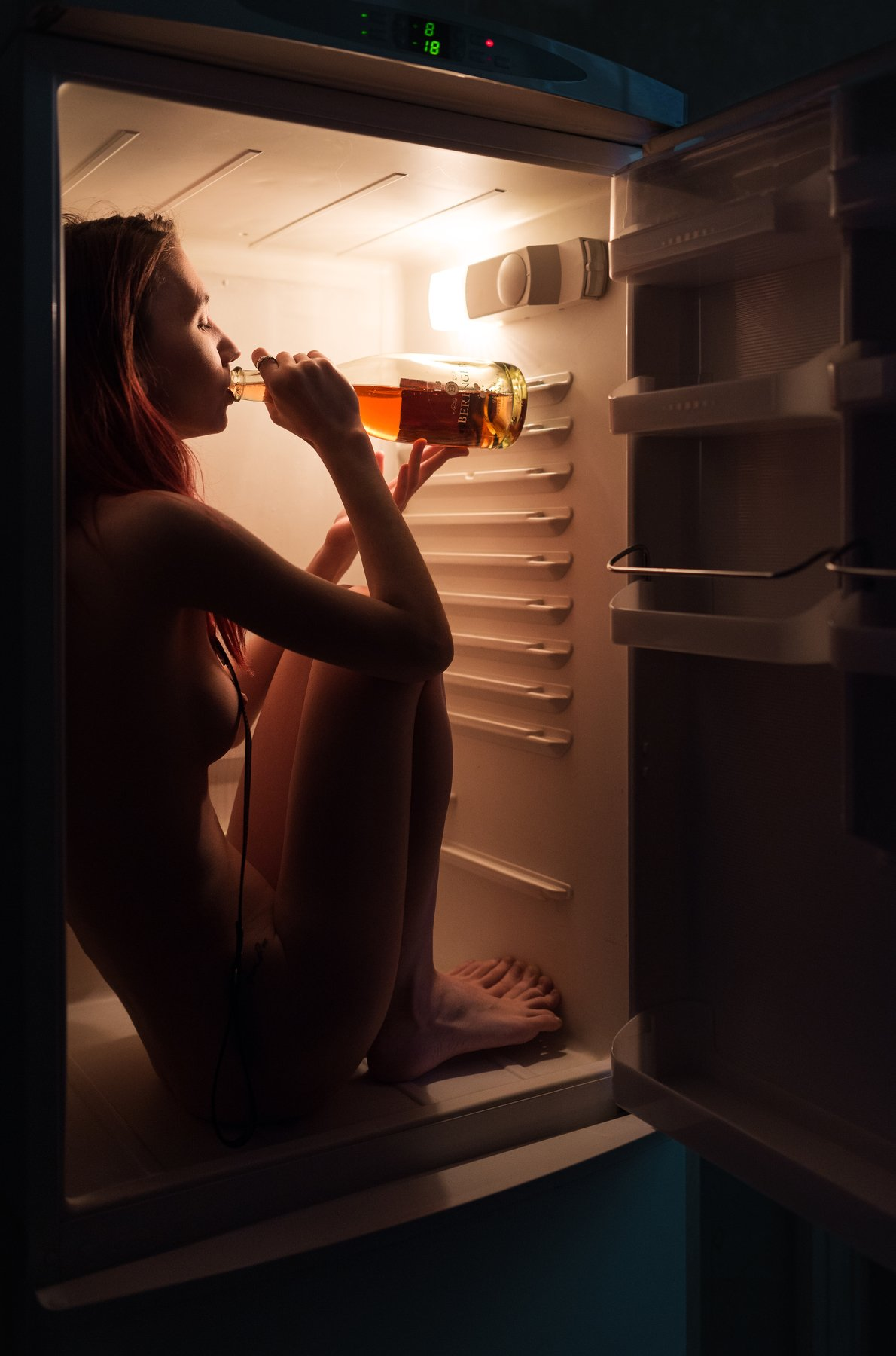 girl, drink, alcohol, fridge, vine, nude, slave, naked, nu, saint-petersburg, Роман Филиппов