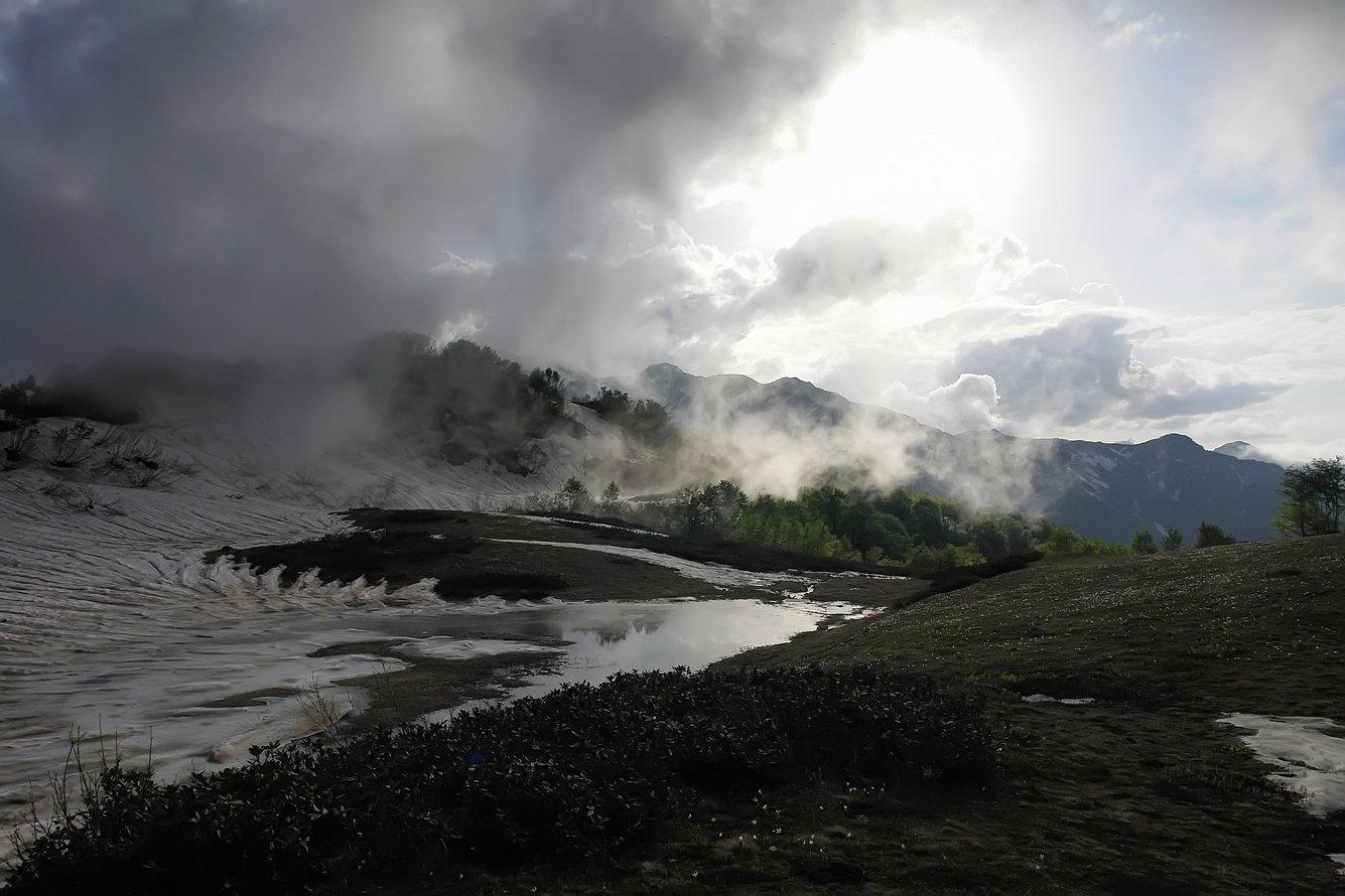 весна, туман, горы, Вадим