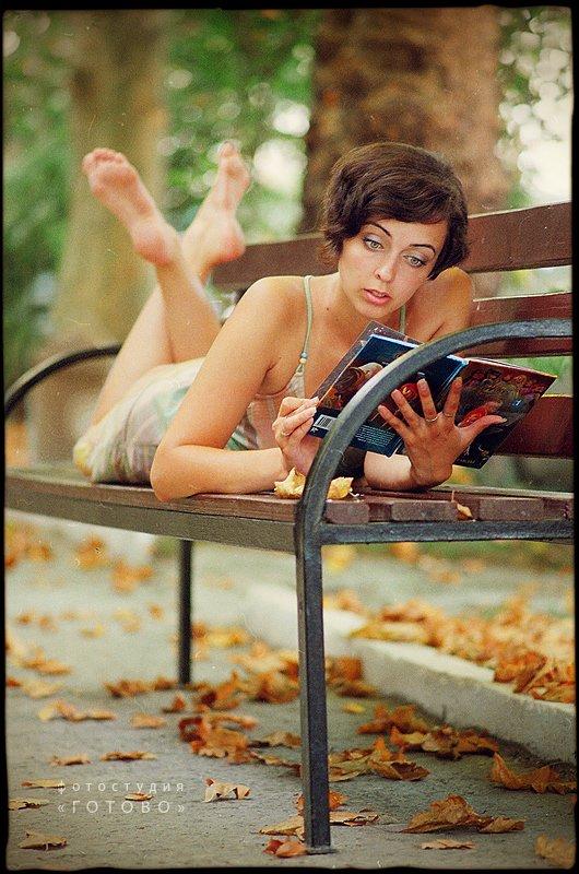 портрет, девушка, лето, книга, парк, Владимир Зотов