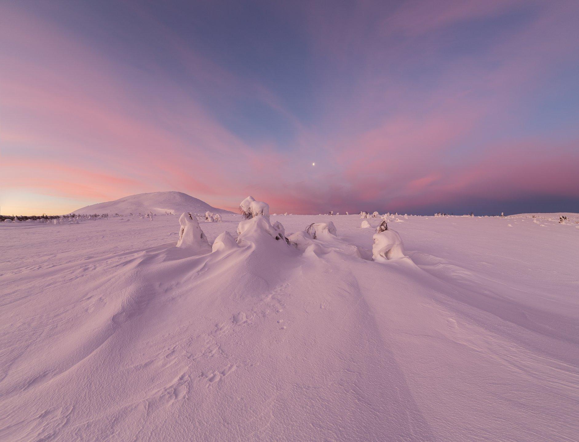 зима, горы, урал, деревья, снег, фактура, небо, облака, луна, рассвет, заря, антон селезнев, Антон Селезнев