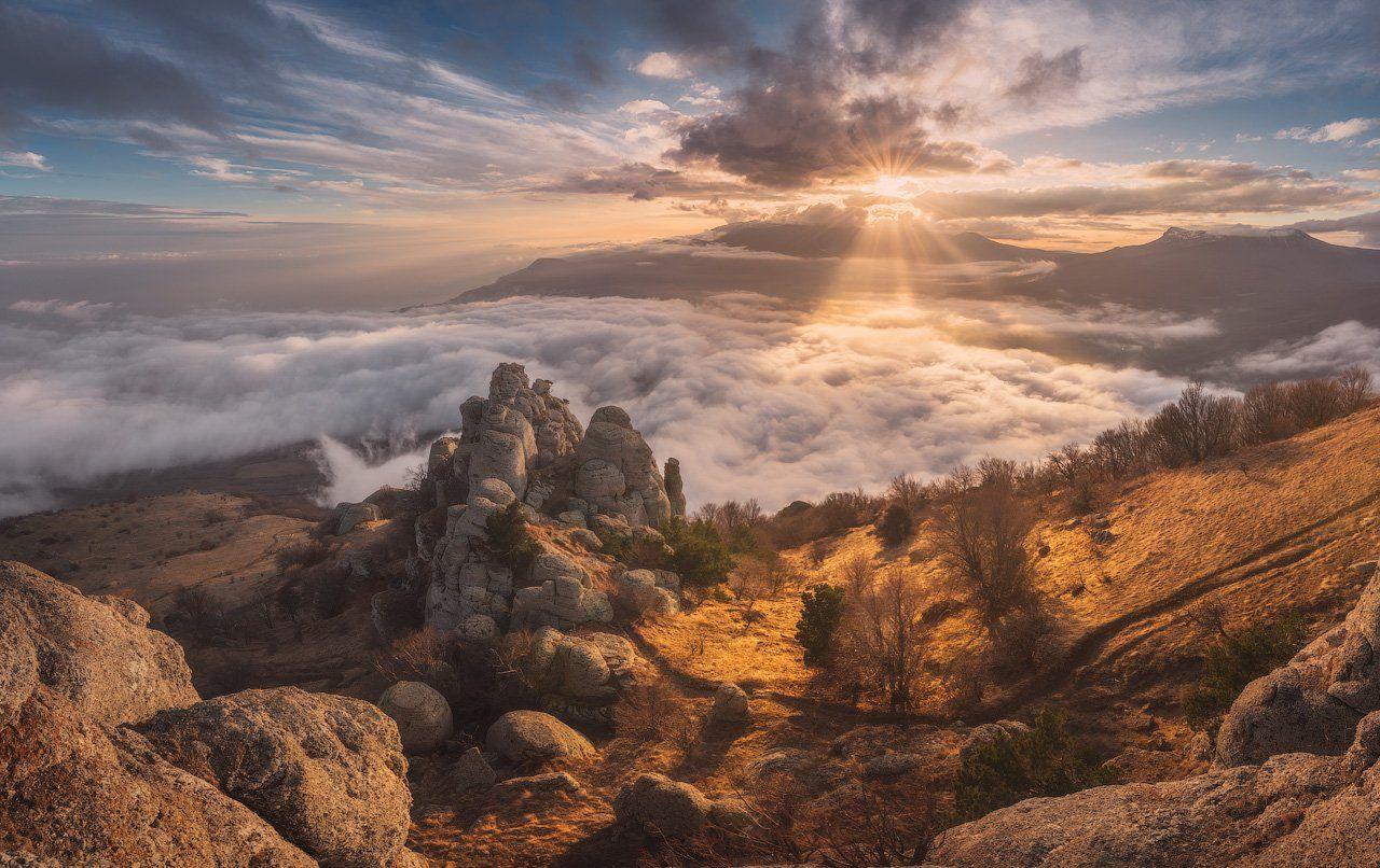 Крым, Демерджи, зима, осень, солнце, Алушта, Южная Демерджи, Россия, пейзаж, закат, Лузанов Вячеслав