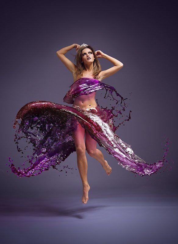 girl, color, water, splash, jump, dress, gotovo, Владимир Зотов