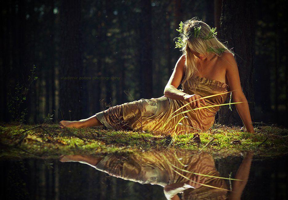девушка, нимфа, лес, озеро, зеркало, готово, Владимир Зотов