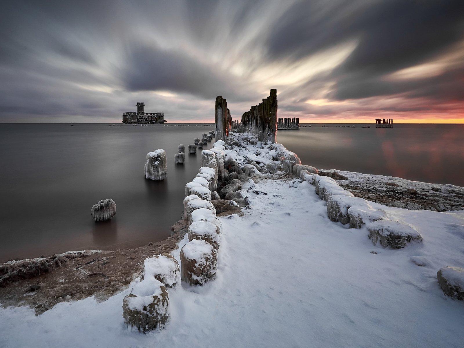 winter, landscape,  Baltic Sea, Gdynia , Poland, Jan Siemiński