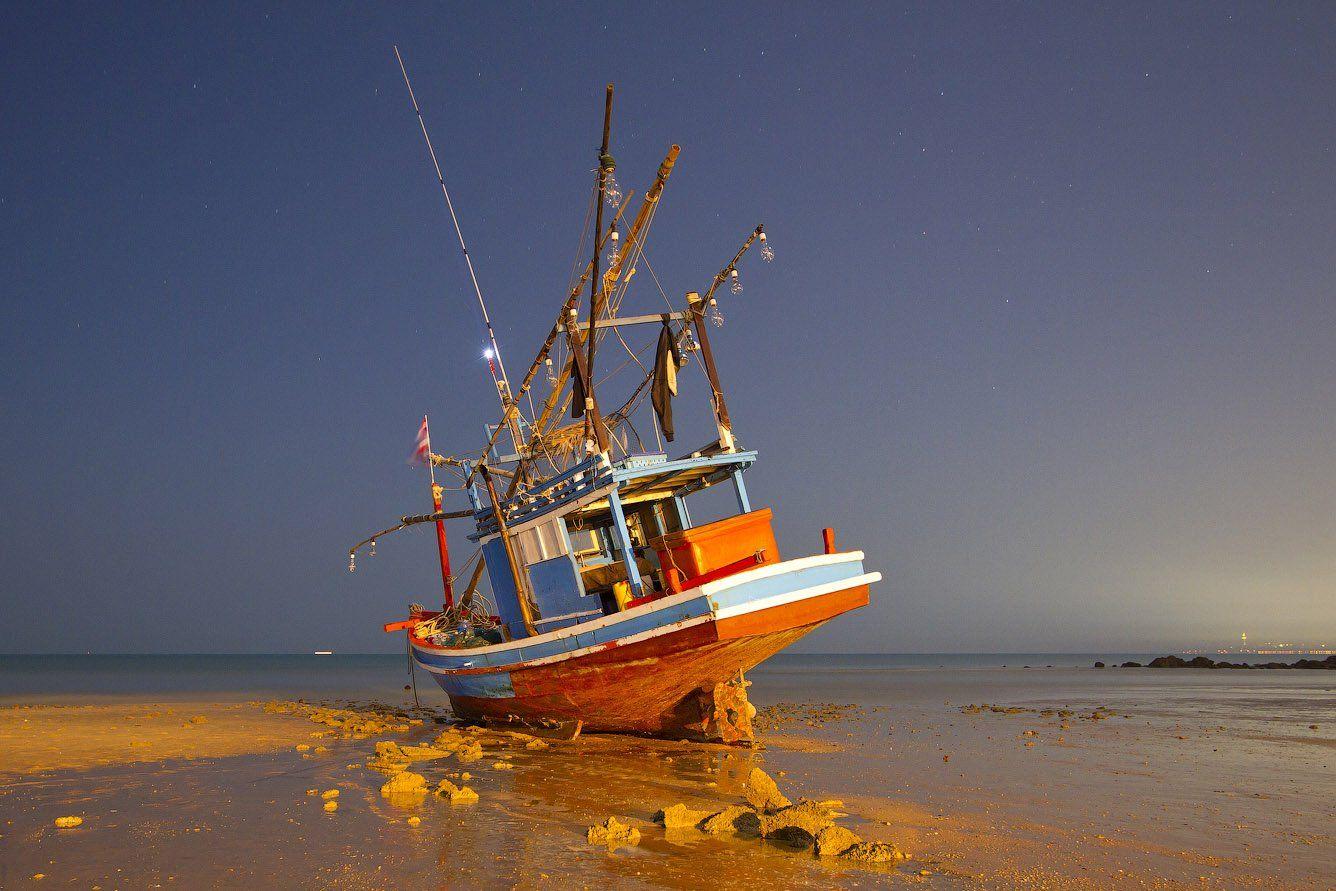 корабель, отлив, таиланд, море, Артем Верхогляд