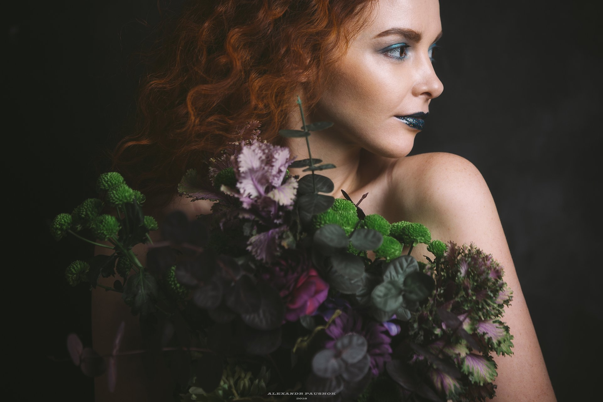 art, body, girl, skin, beauty, flowers, portrait, Paushok Alexander