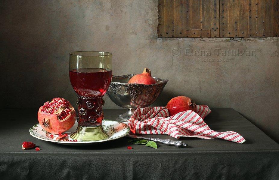 гранат, риман, лесное стекло, фрукты, Елена Татульян